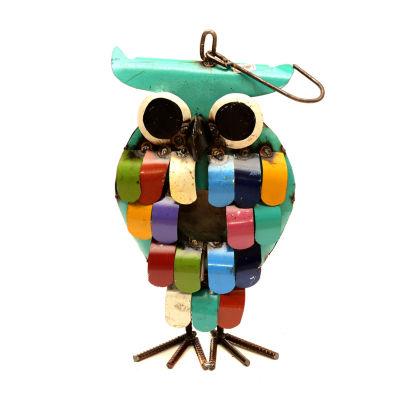 Rustic Arrow Owl Hanging Bird House Figurine