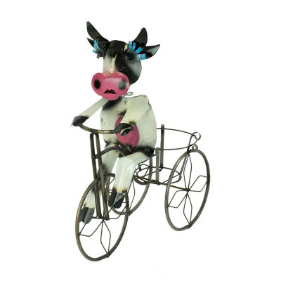 Rustic Arrow Cow On Tricycle With Basket Planter