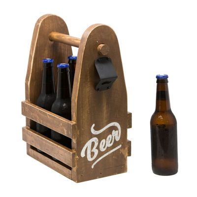 Rustic Arrow Wood Beer Carrier With Bottel OpenerFigurine