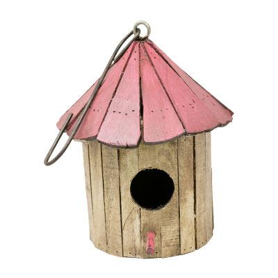 Rustic Arrow Mushroom Wooden Bird House Figurine