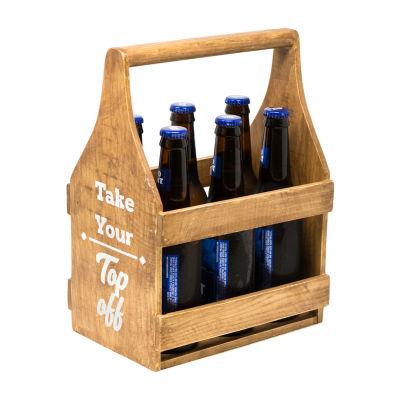 Rustic Arrow Wood Bottle Caddy Tabletop Decor