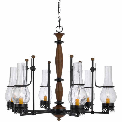 "Invogue Lighting 25"" Tall Metal Chandelier in Metal Wood Finish"