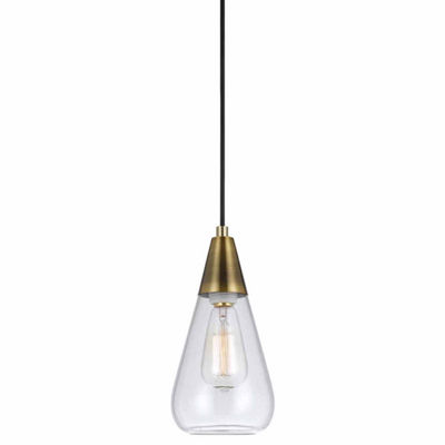 "Wooten Heights 10.75"" Height Glass Pendant in Antique Brass Finish"