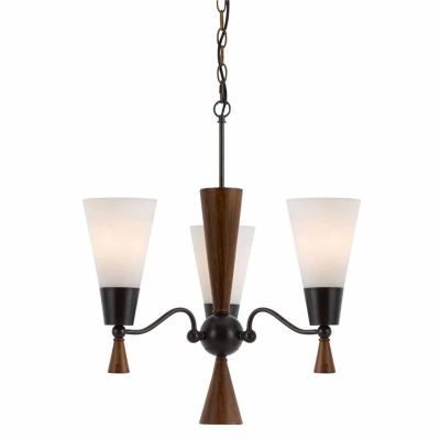 "Invogue Lighting 18"" Three Light Chandelier in Mahogany"