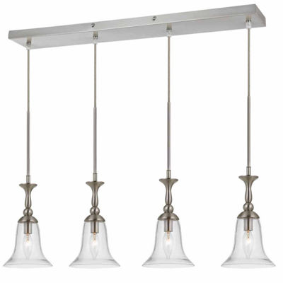 "Wooten Heights 72"" Tall Glass Pendant in Brushed Steel Finish"