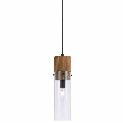 "Wooten Heights 13.5"" Inch Tall Glass Pendant in Dark Bronze Wood Finish"