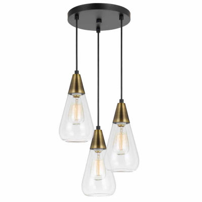 """Invogue Lighting 10.75"""" Height Glass Pendant in Antique Brass Finish"""