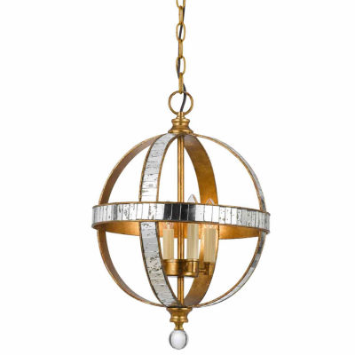 """Wooten Heights 19.25"""" Inch Tall Metal Pendant in French Gold Mirror Finish"""