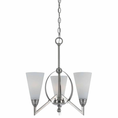 "Invogue Lighting 19"" Three Light Chandelier in Brushed Steel"