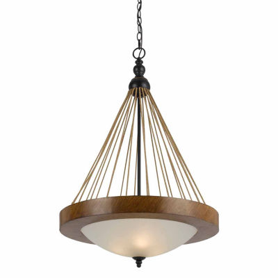 "Wooten Heights 32"" Tall Metal Pendant in Metal Wood Finish"