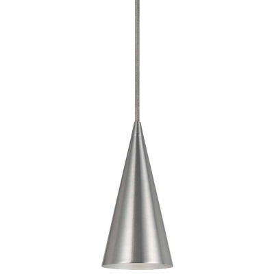 """Wooten Heights 7"""" Tall Metal Pendant in Brushed Steel Finish"""