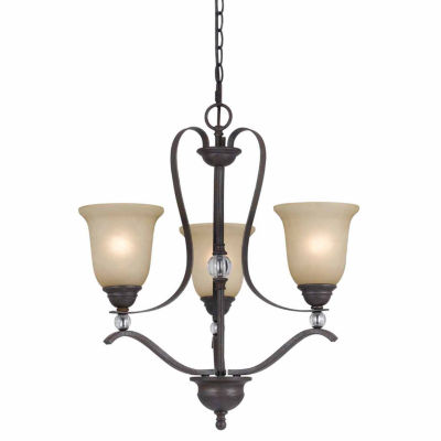 "Invogue Lighting 24"" Three Light Chandelier in Organic Black"