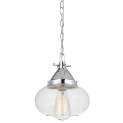 "Wooten Heights 10"" Heignt Glass Pendant in Chrome Finish"
