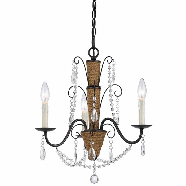 "Invogue Lighting 24.25"" Tall Metal and Cyrstal Chandelier in Rattan and Crystal Finish"