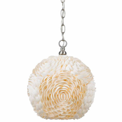 "Wooten Heights 13.5"" Inch Tall Sea Shell Pendant in Shell Finish"