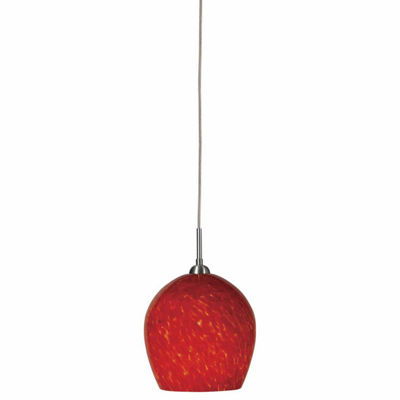 "Wooten Heights 4.9"" Tall Glass and Metal Pendant with Brushed Steel Cord"