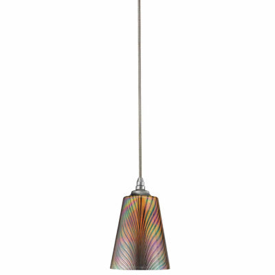 """Wooten Heights 6.3"""" Tall Glass Pendant with Brushed Steel Cord"""