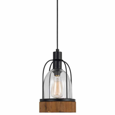 "Wooten Heights 84"" Tall Glass Pendant in Dark Bronze Wood Finish"