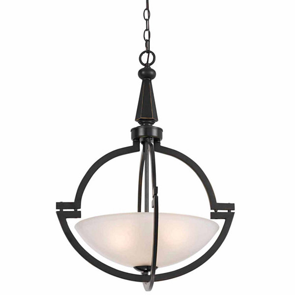 "Wooten Heights 27"" Tall Iron and Glass Pendant in Oil Rubbed Bronze"