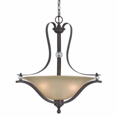 "Wooten Heights 25"" Three Light Pendant in Dark Bronze"