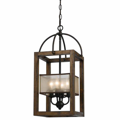 "Invogue Lighting 23.50"" Inch Four Light Mission Chandelier in Dark Bronze"