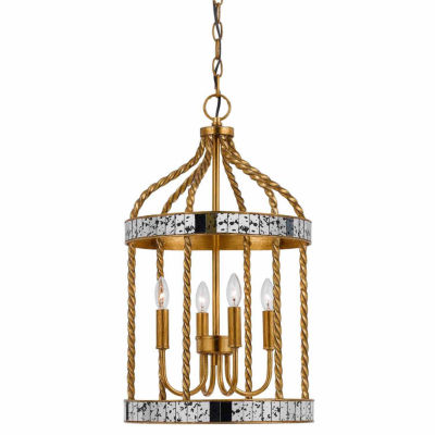 Wooten Heights 24.5 Inch Tall Metal Pendant in French Gold Antiqued Mirror Finish