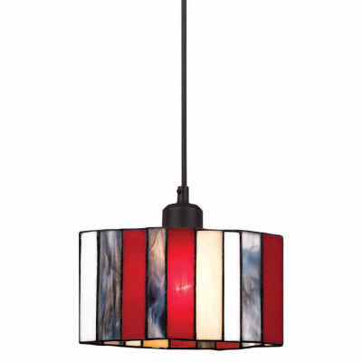 """Wooten Heights 7"""" Tall Glass Pendant with Brushed Steel Finish"""