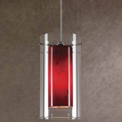 """Wooten Heights 7.9"""" Tall Glass and Metal Pendant with Rust Cord"""