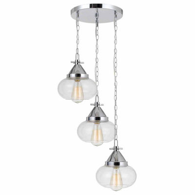 "Wooten Heights 10"" Height Glass Pendant in Chrome Finish"