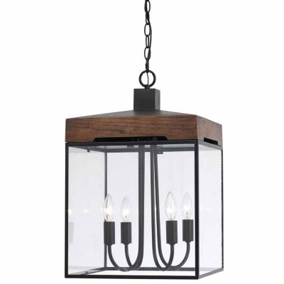 Invogue Lighting 22.5 Inch Tall Metal and Glass Chandelier in Dark Bronze Wood Finish