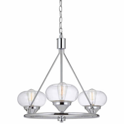 Invogue Lighting 23.5 Inch Glass Chandelier in Chrome Finish