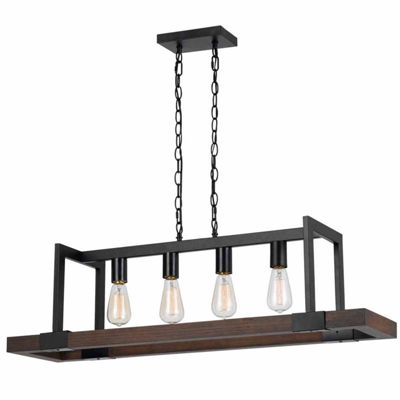 Invogue Lighting 26 Inch Tall Wood Chandelier in Dark Bronze Wood Finish