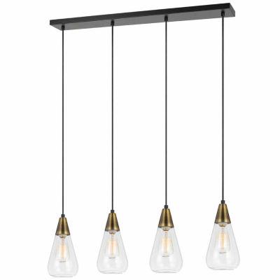 """Wooten Heights 10.75"""" Height Glass Pendant in Antique Brass Finish"""