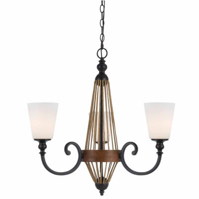 "Invogue Lighting 25.5"" Inch Tall Metal Chandelierin Wood Finish"