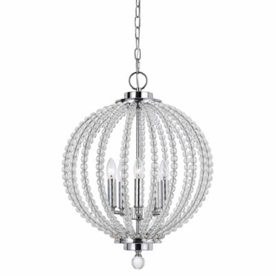 "Wooten Heights 19.5"" Inch Tall Glass Pendant in Chrome Glass Finish"