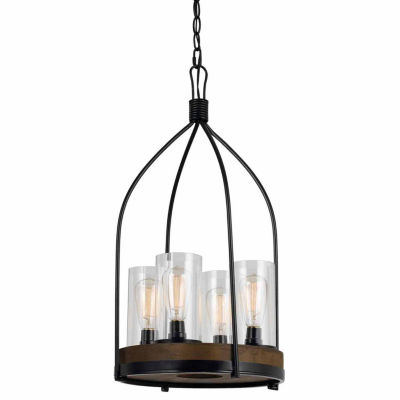 """Invogue Lighting 29.5"""" Inch Tall Metal and Wood Fixture in Iron Wood Finish"""