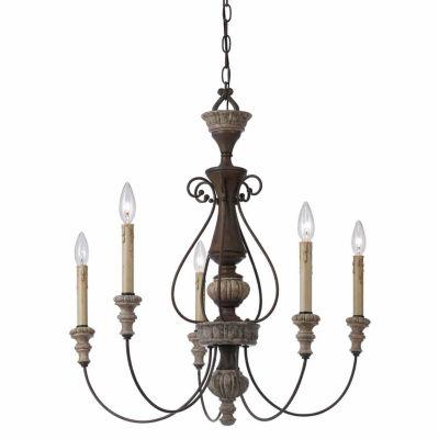 """Invogue Lighting 27"""" Inch Five Light Chandelier in Dapple Gray Rust"""
