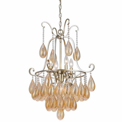 "Invogue Lighting 34.5"" Inch Glass Chandelier in Warm Silver Finish"