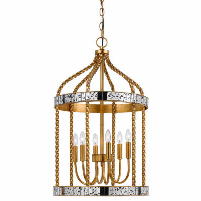 """Wooten Heights 27.5"""" Inch Tall Metal Pendant in French Gold Antiqued Mirror Finish"""""""