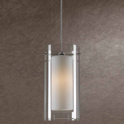 "Wooten Heights 5.2"" Tall Glass and Metal Pendant with Rust Cord"
