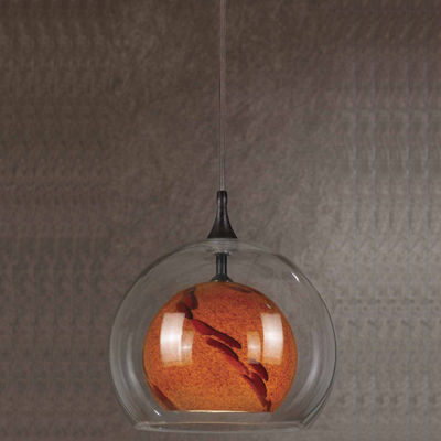 "Wooten Heights 8.8"" Tall Glass and Metal Pendant with Rust Cord"