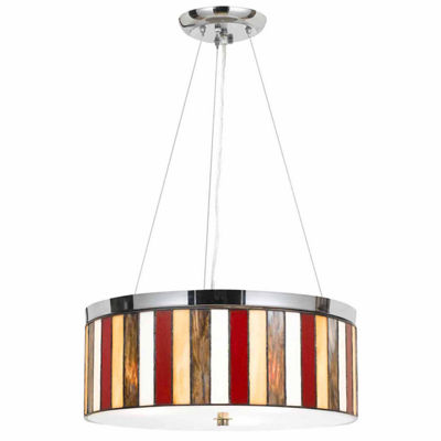 "Wooten Heights 47"" Tiffany Pendant in Chrome"