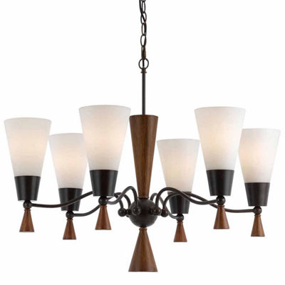 "Invogue Lighting 26"" Inch Six Light Chandelier in Mahogany"