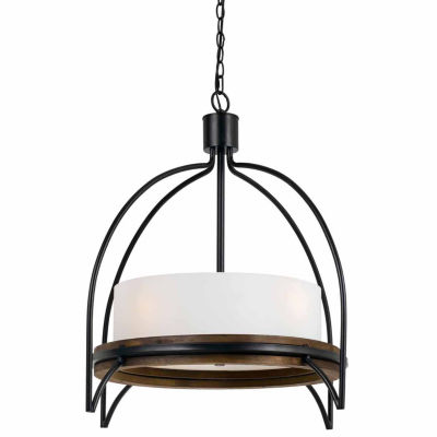 "Invogue Lighting 27.5"" Inch Tall Metal and Wood Fixture in Iron Wood Finish"