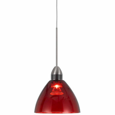 "Wooten Heights 10.2"" Tall Glass and Metal LED Pendant with Brushed Steel Cord"