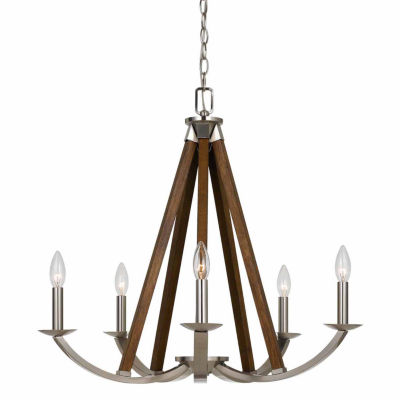 Invogue Lighting 24 Inch Tall Metal Chandelier in Brushed Steel Finish