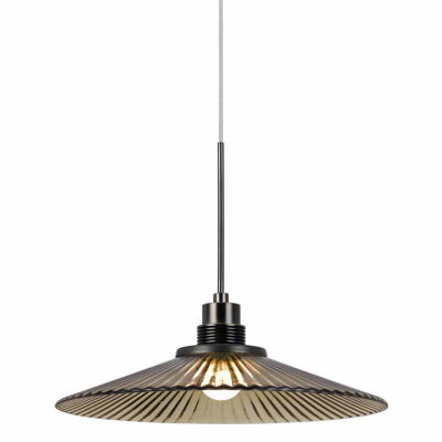"Wooten Heights 7.5"" Tall Glass and Metal LED Pendant with Brushed Steel Cord"