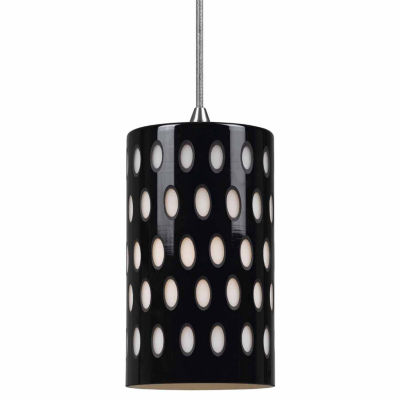 "Wooten Heights 9.8"" Tall Glass Pendant with  Brushed Steel Cord"