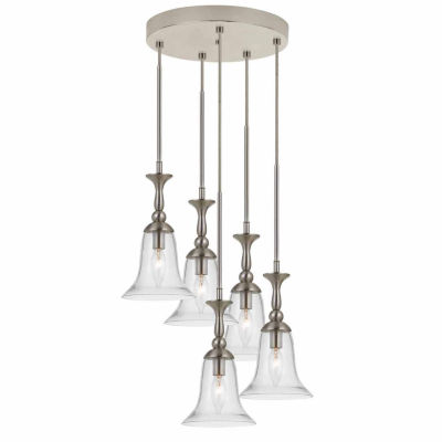 "Wooten Heights 108.5"" Inch Tall Glass Pendant in Brushed Steel Finish"