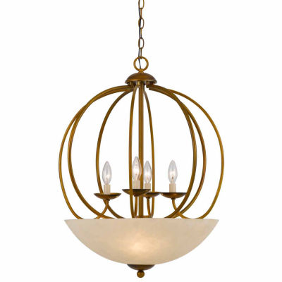 "Wooten Heights 27.5"" Inch Tall Metal Pendant in Antique Gold Finish"